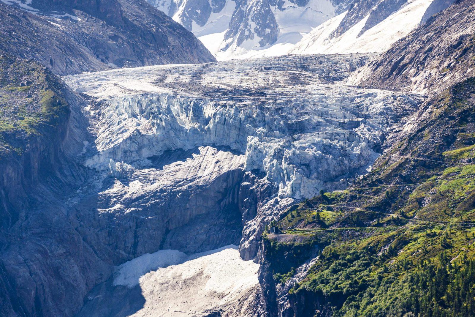 Le glacier d'Argentière en été